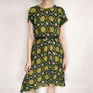 Loose Green Batik Dress