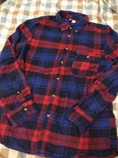 H&M 紅藍格紋襯衫 優質二手9成新 尺寸:S