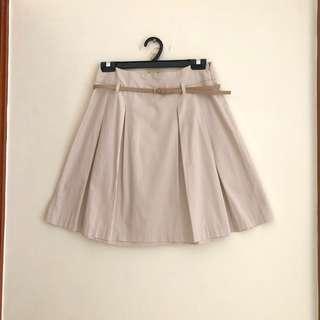 Zara pleated skirt in beige
