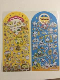 Gold lined and foiled stickers - Sanrio Pochacco and Pompompurin Purin