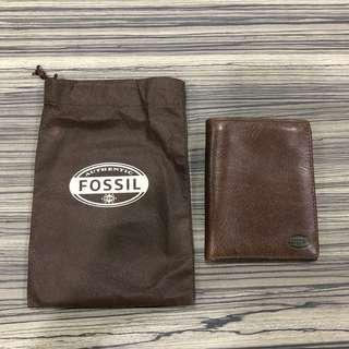 Authentic Fossil Leather Passport Holder Wallet Brown