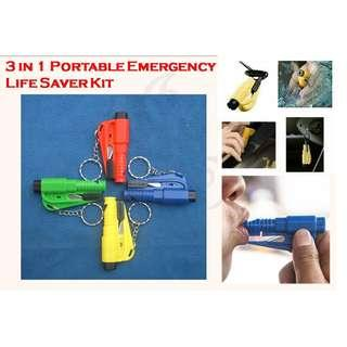 3 in 1 Car Emergency Life Saver Tool.  Small and Portable in Key Chain. Seat Belt Cutter, Window Breaker and Whistle