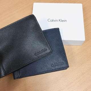 Calvin Klein 十字紋男裝皮製銀包 真皮銀包 海軍藍 黑色 生日禮物