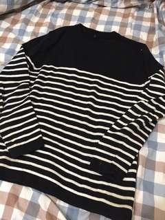 余文樂著用款 藍白條紋毛衣針織上衣 尺寸L