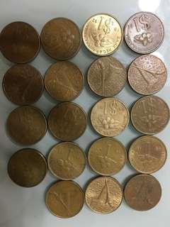 馬來西亞消失了的$1及1ringgit 共19 個