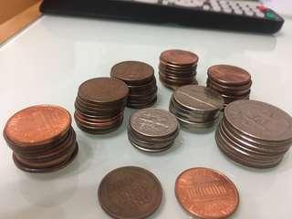 美國錢幣1944年one cent付送不同年份神沙
