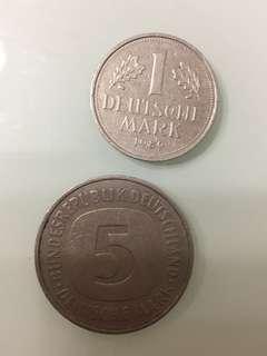 德國5馬克1975 年及1 馬克1989年