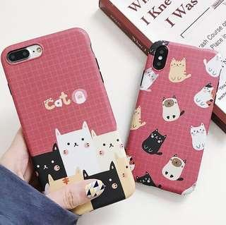 (Soft) Red Background Grid Many Cats iPhone Case