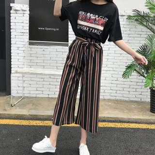 Striped Culottes with Ribbon