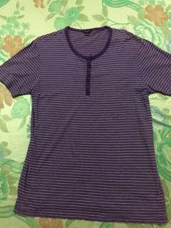 Preloved Bossini Purple Stripe Mens Shirt