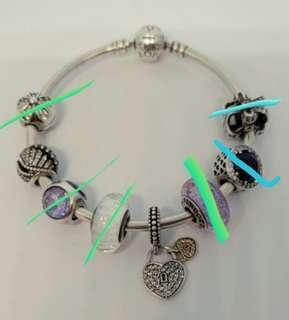 Pandora 14k gold heart crystal charm 17cm bangle