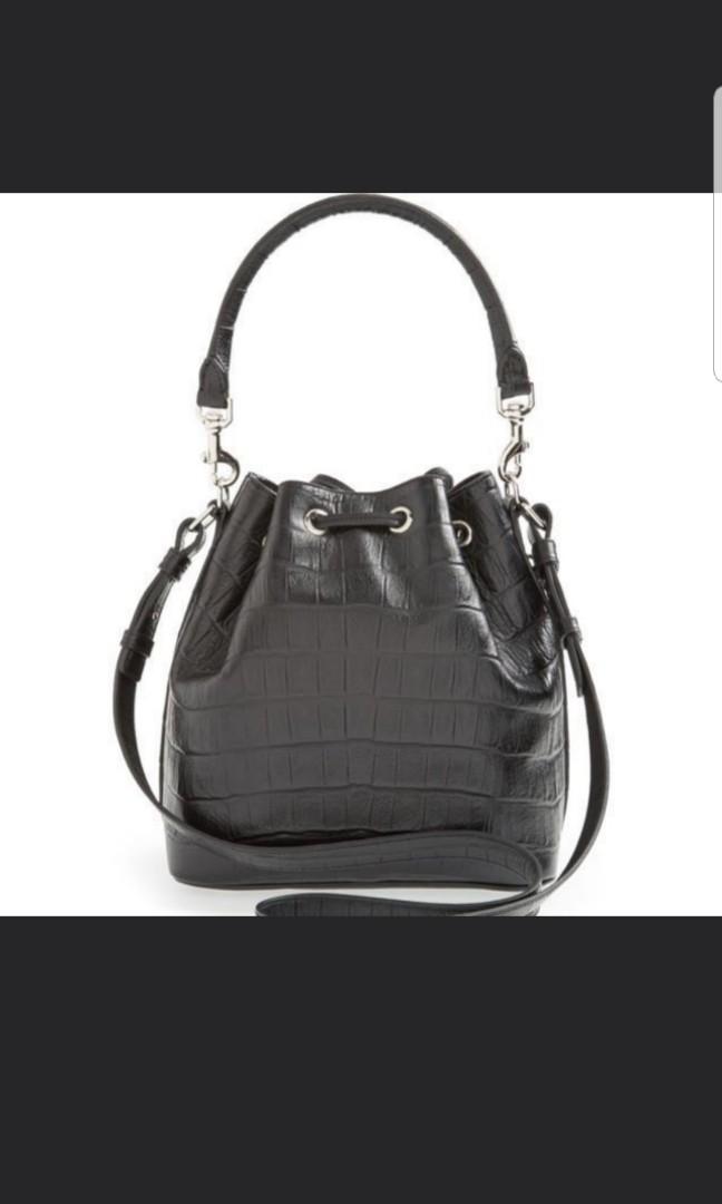 bb4e443d73 Authentic Saint Laurent Emmanuelle Croc Embossed Leather Bucket Bag ...