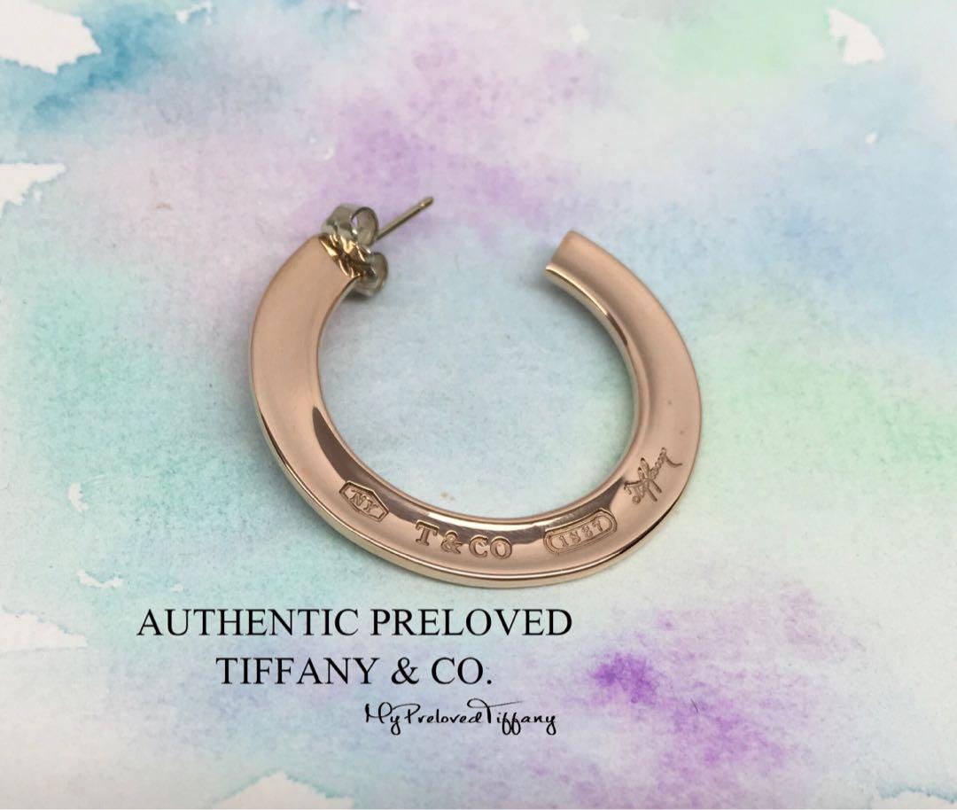 a93660089 Authentic Tiffany & Co. 1837 Rubedo Metal Hoop Earrings ONE SIDE ...