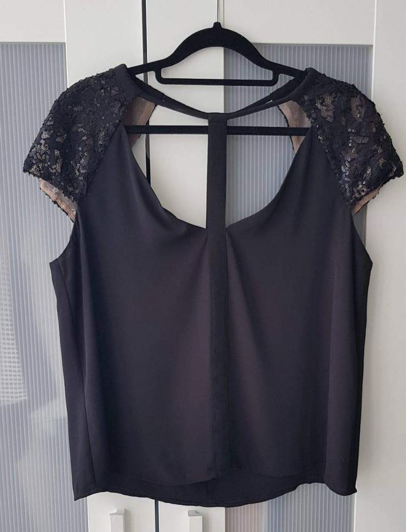 BCBG MAX AZRIA CUT OUT WOMENS TOP SEQUIN SHOULDER SLEEVES