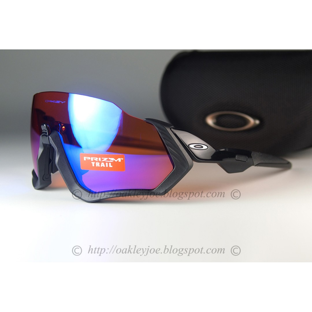59ccba298d BNIB Oakley Custom Flight Jacket matte black + trail prizm iridium lens  sunglass shades