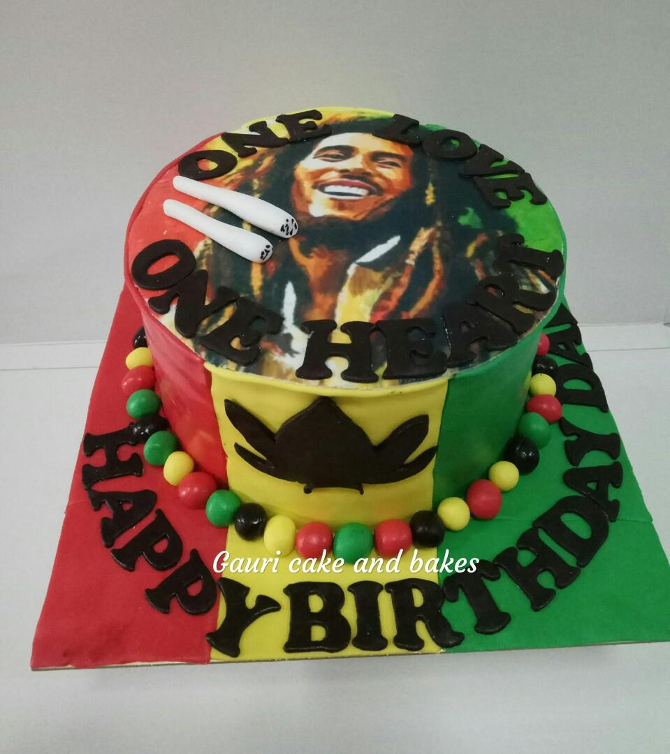 Cool Bob Marley Cake Edible Image Cake Food Drinks Baked Goods On Personalised Birthday Cards Veneteletsinfo