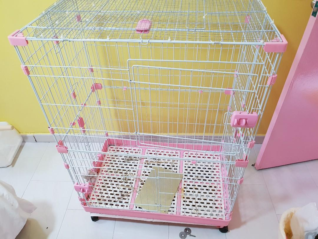 Chinchilla 3 tier cage ( Pink )
