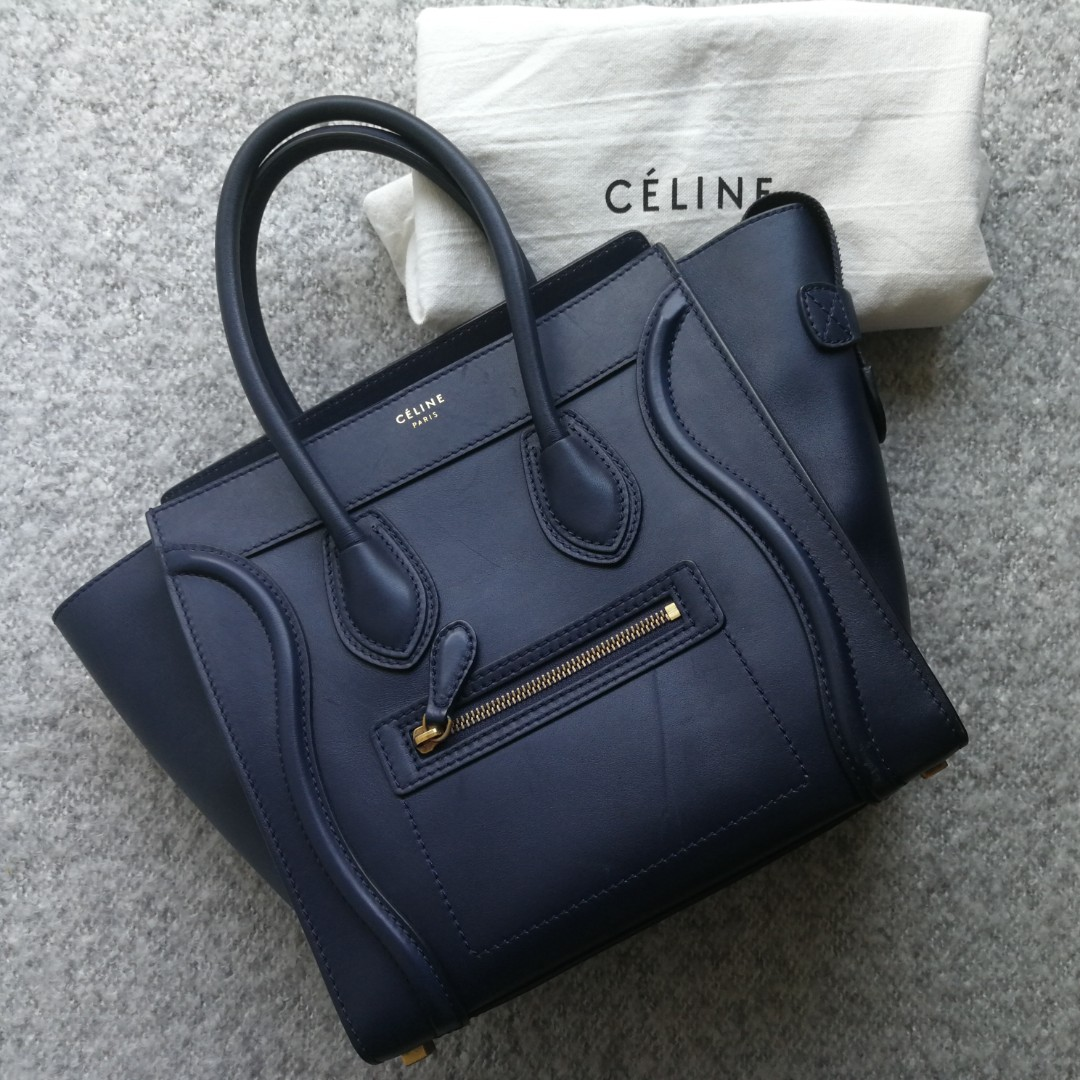 HOLIDAY SALE  CÉLINE Navy Blue Smooth Calfskin Micro Luggage Tote ... 3d7a2f40bb242