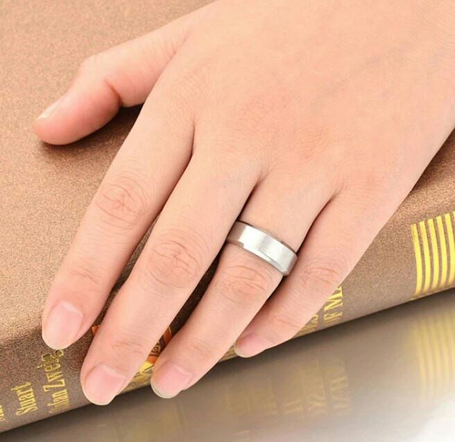 Couple Ring Plain silver with free engravement
