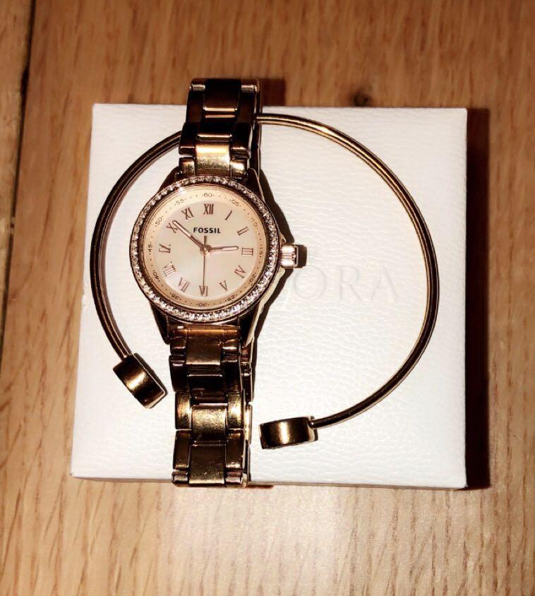Fossil Mini Rose Gold Watch + Bracelet