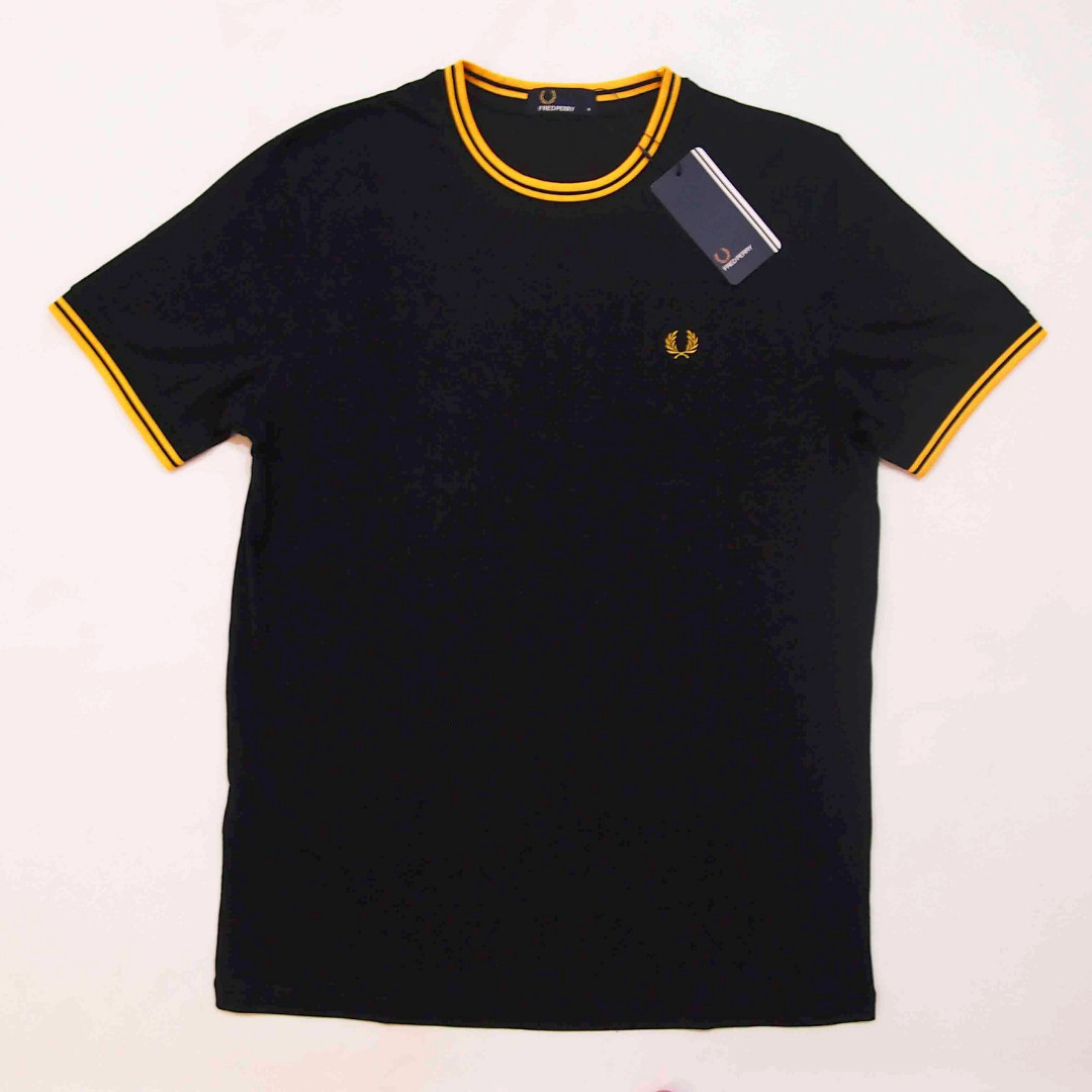 d1a73d9a Fred Perry Black/Yellow Twin-Tipped T-Shirt, Men's Fashion, Clothes ...