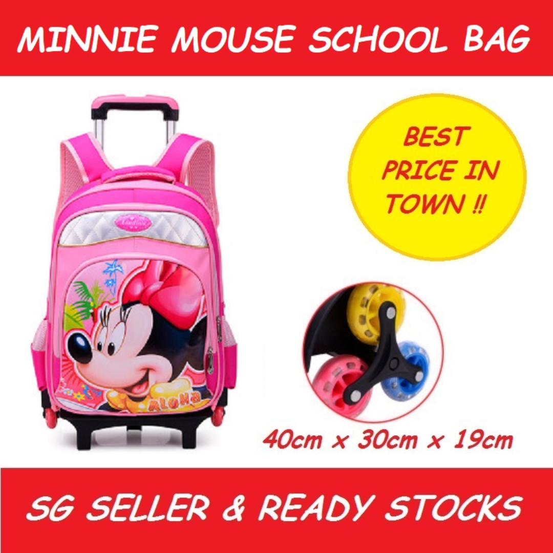 49bef1a8f4bc Girls Kids Trolley School Bag Cartoon Disney Mickey Mouse Stair Climbing  Wheel