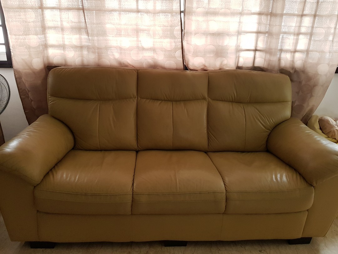 - Beige Leather Couch