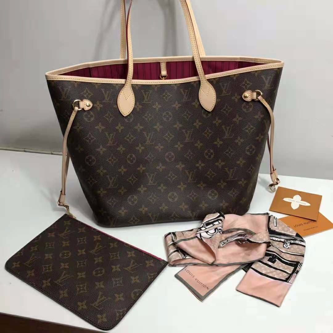 e6a90405dfc55 LV Louis Vuitton Neverfull MM Monogram Canvas Tote Bag Original ...