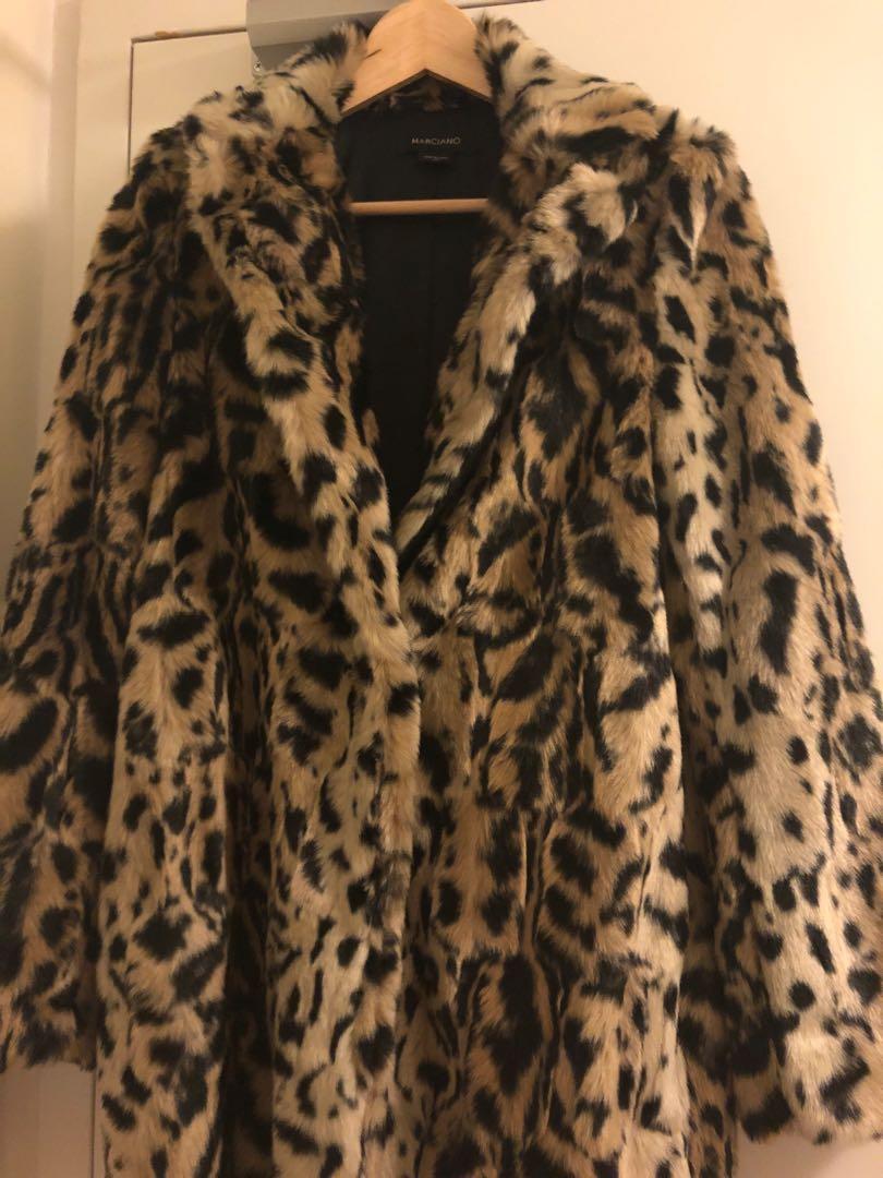 Marciano Guess Leopard Print Faux Fur Coat Size XS