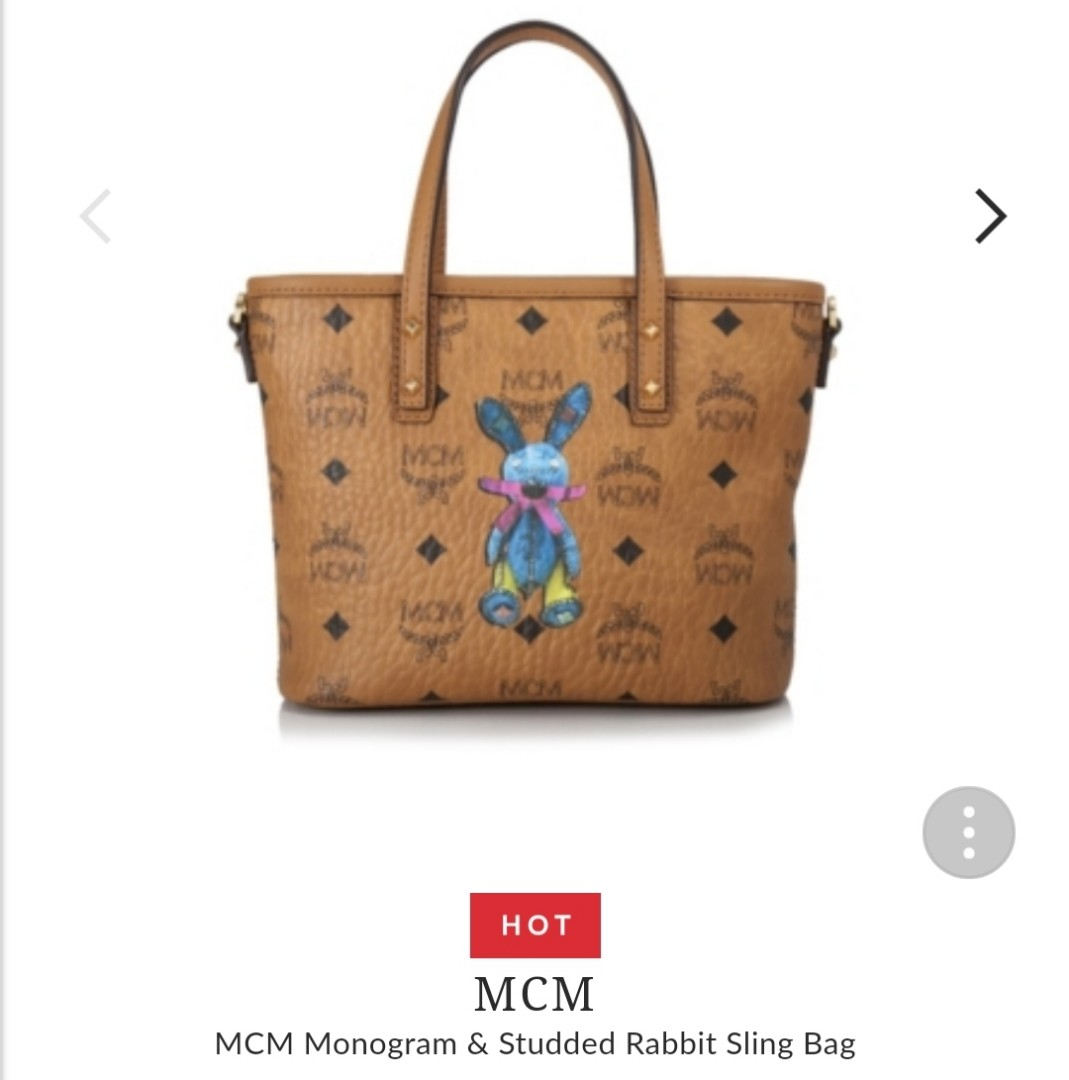 240cb7e315e MCM Monogram & Studded Rabbit Sling Bag, Women's Fashion, Bags ...