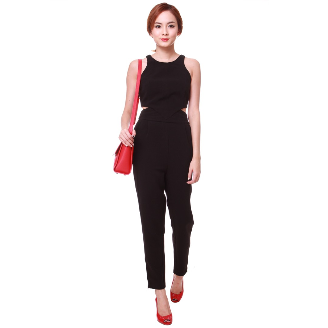 4710aa5c3550 MDS Side Slit Jumpsuit in Black