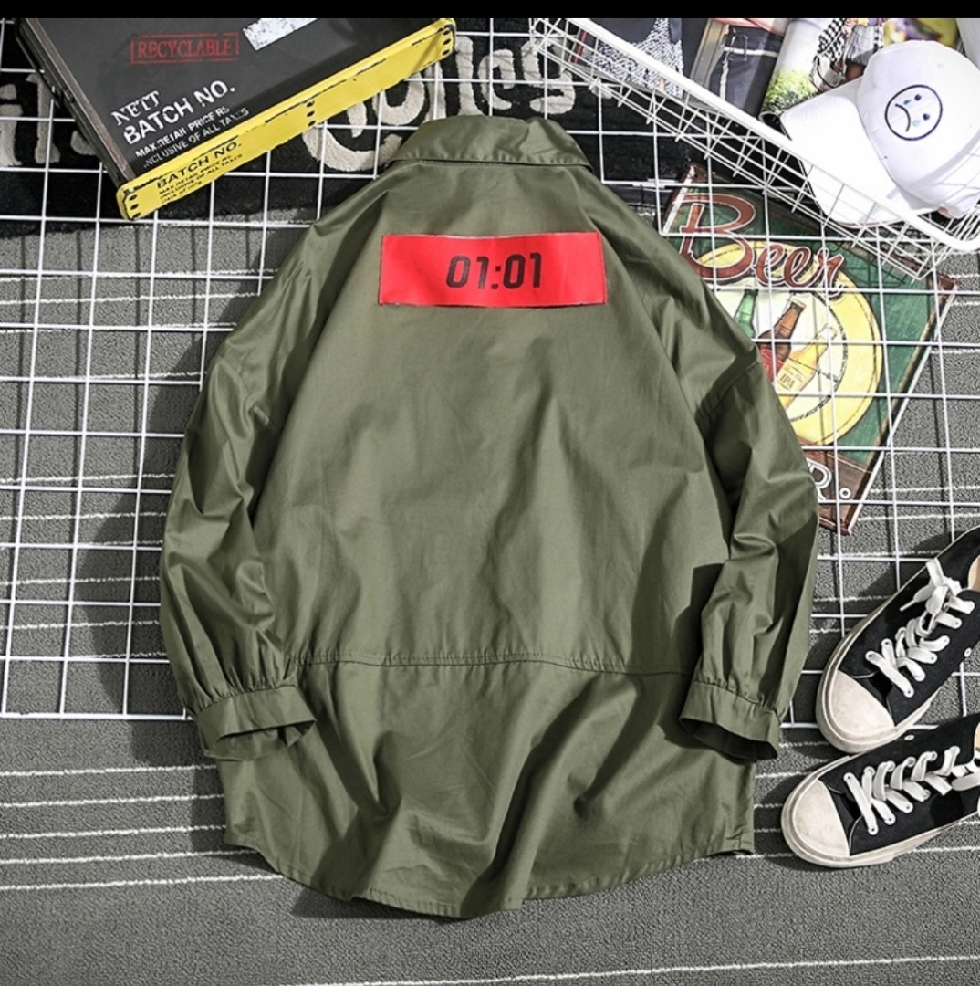 0ad5cf6cd37 Men loose big shirt hip hop green yellow black Street wear