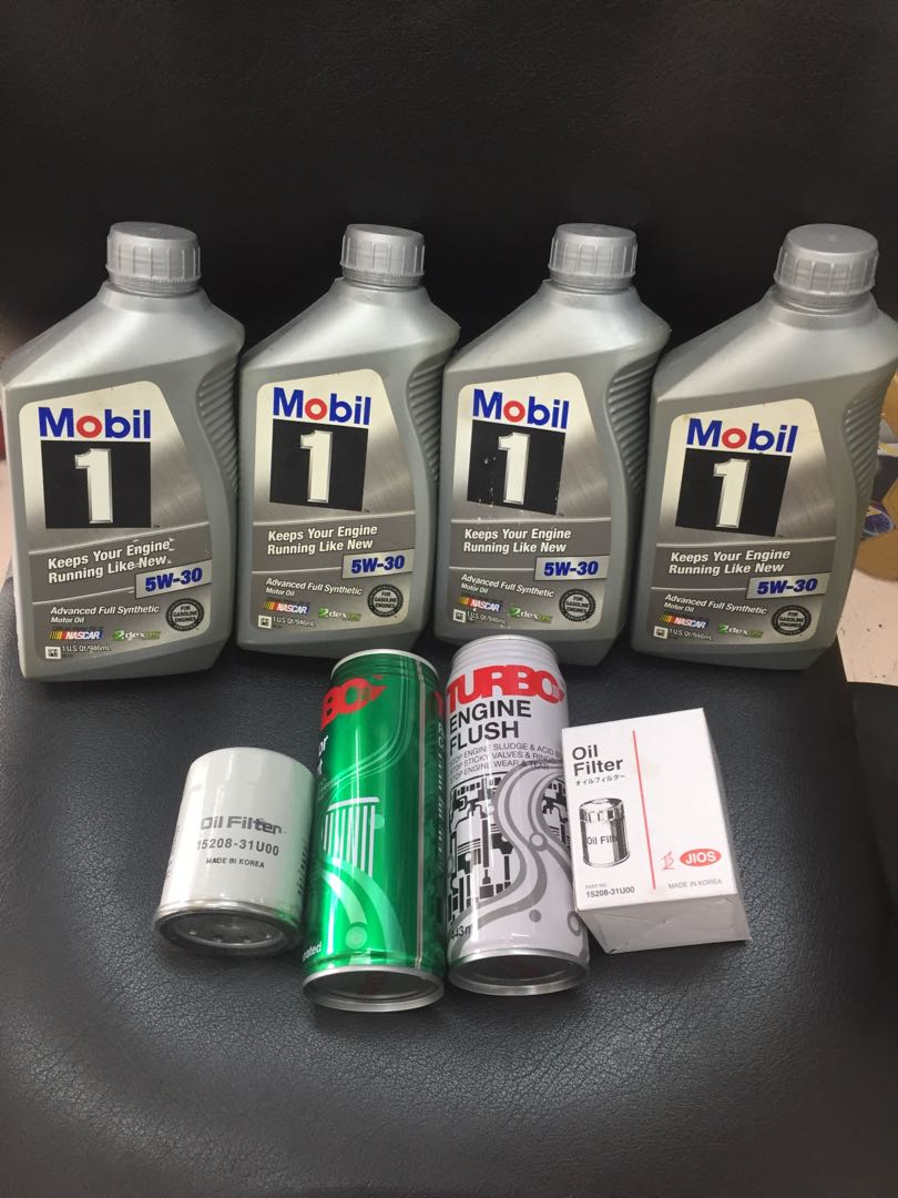 Mobil 1 5w30 advanced fully synthetic motor oil packages with oil filter  turbo engine flush radiator flush