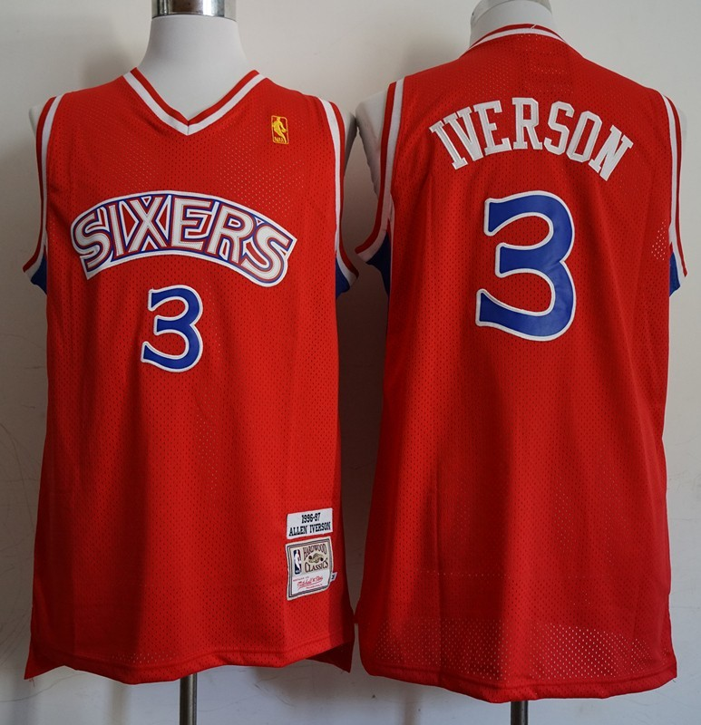 hot sale online 105e0 cea68 NBA Denver Nuggets Allen Iverson Red Vintage Swingman Jersey ...