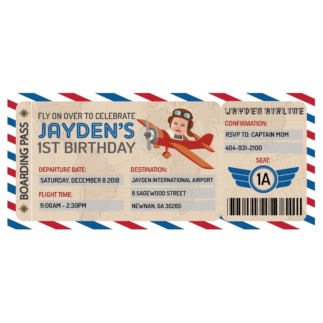 airplane ticket birthday invitation