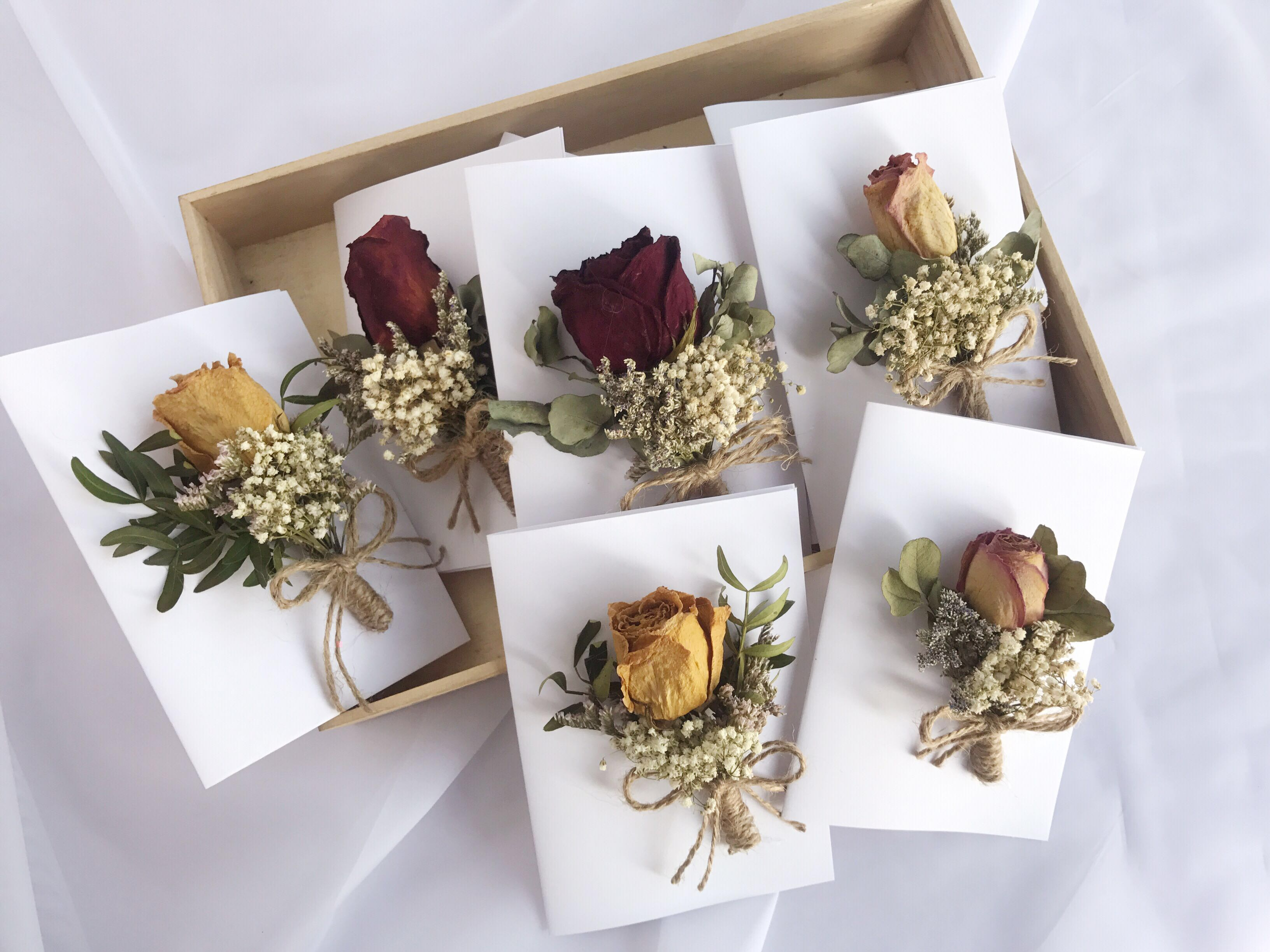 Rose Card Dried Flower Gift Birthday