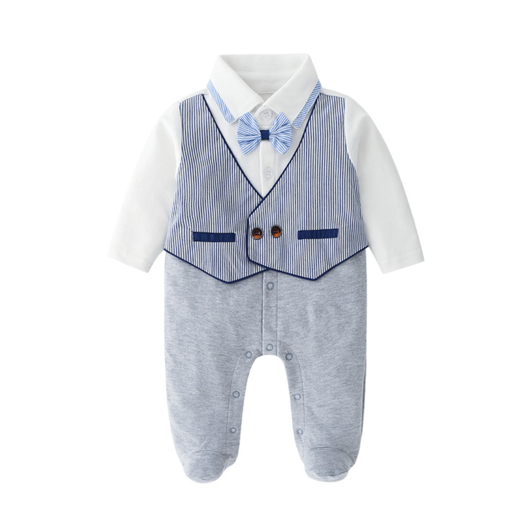 f350de0bac80 ✓️STOCK - PREMIUM BLUE BOW RIBBON STRIPE TUXEDO VEST GREY LONG ...
