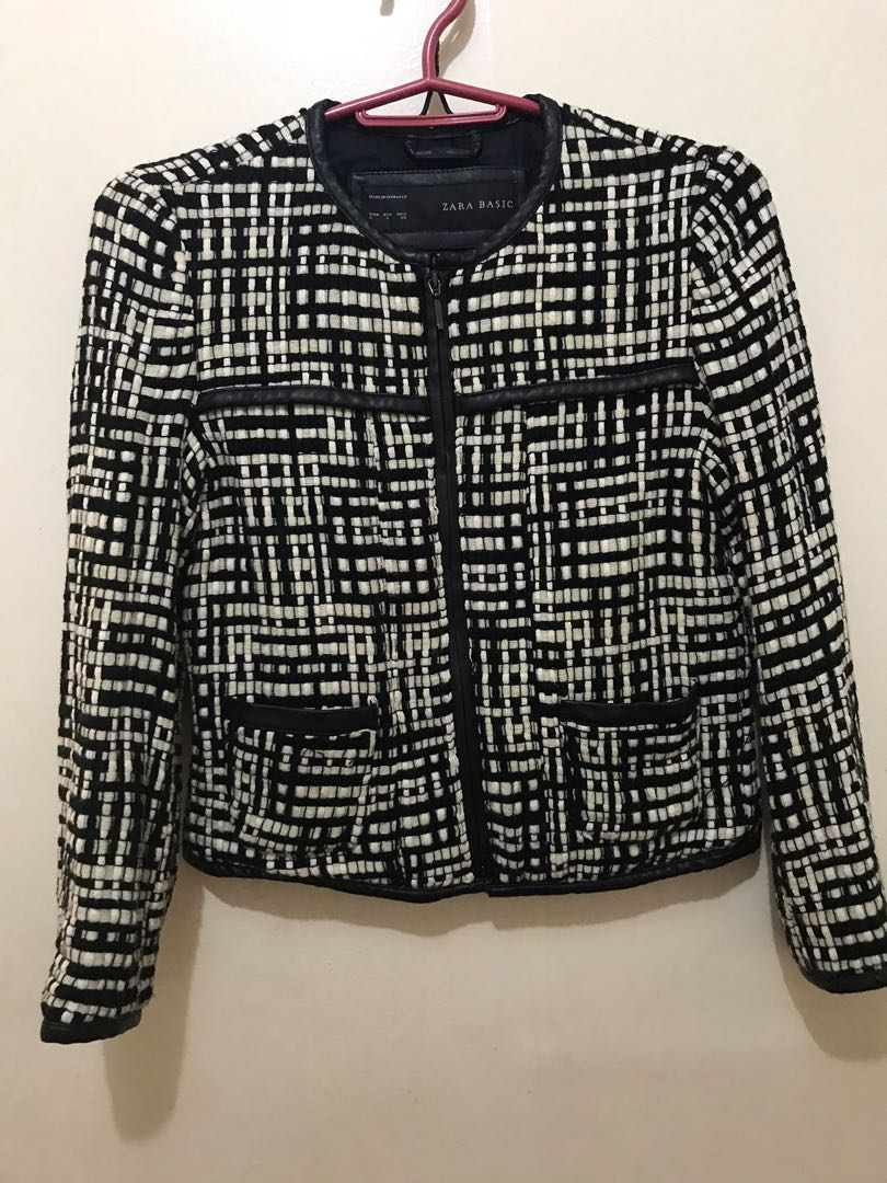 267cd72b zara tweed jacket with leather lining, Women's Fashion, Clothes ...