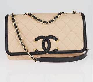 1ea0a6eb091c Chanel CC Filigree · Chanel CC Filigree. S$4,500. - Genuine Chanel Beige/Black  Quilted Caviar Leather medium flap bag ...