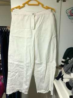 白色牛仔闊腳褲