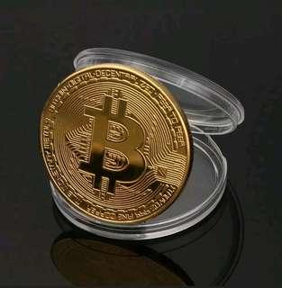 1pc Gold Plated Physical Bitcoin Coin with Plastic Case