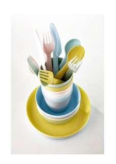 IKEA Kalas Mixed Pastel Color Kids Cutlery