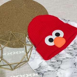 🚚 二手 9成新 環球影城購入 芝麻街 Elmo 毛帽 針織帽 紅