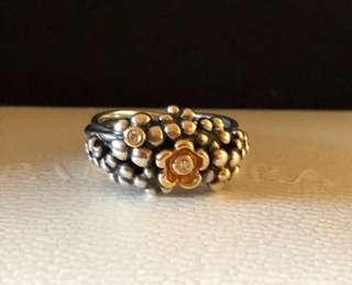 Pandora Sz 56 Flower Bouquet SS 14ct Gold Diamond Ring