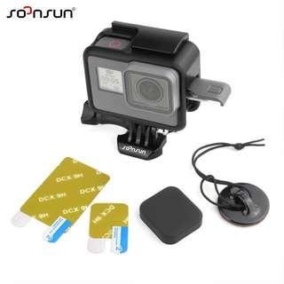 🚚 SOONSUN Easy Open Side Door Housing Frame Case with Lens and Screen Protector + Silicone Len Cap Cover + Safety Tether for GoPro HERO 7 BLACK / 6 / 5 / 2018 Camera Accessories