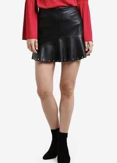 Mango Fluted Hem Skirt Black