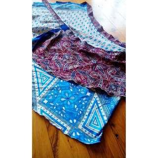 TREE OF LIFE Mini Hippy High Waist Tie Up REVERSIBLE Patterned Flower Skirt