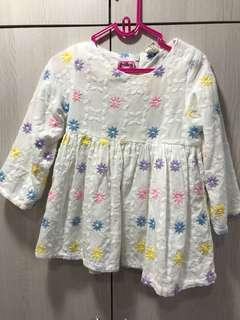 Korean floral embroidery dress