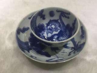 大清雍正 景德鎮外銷瓷 過牆龍杯碟一套 茶具 瓷器