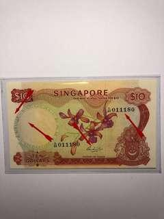 Singapore Orchid series $10 HSS w/o seal A/88 011180 fancy number with small printing error original EF